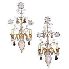 Pair of Bagues Style Rock Crystal Two-Light Sconces