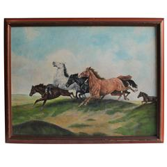 Signed Oil Painting of Horses on Board