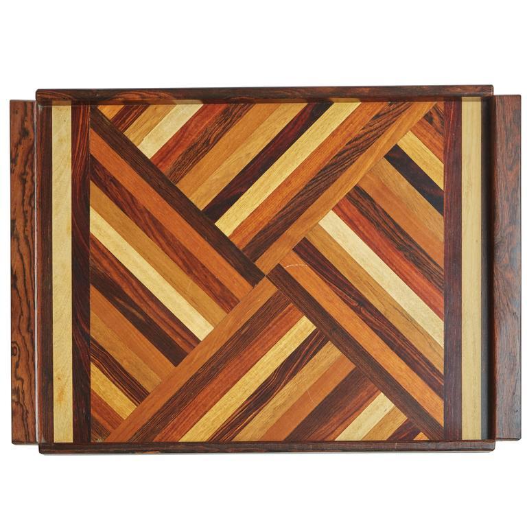 Don Shoemaker Exotic Mixed Wood Serving / Bar Tray