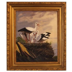 Oil Painting of Storks, Unknown Artist, 1880