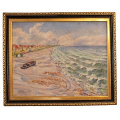 Painting of a Danish Beach Signed Clement, circa 1930s