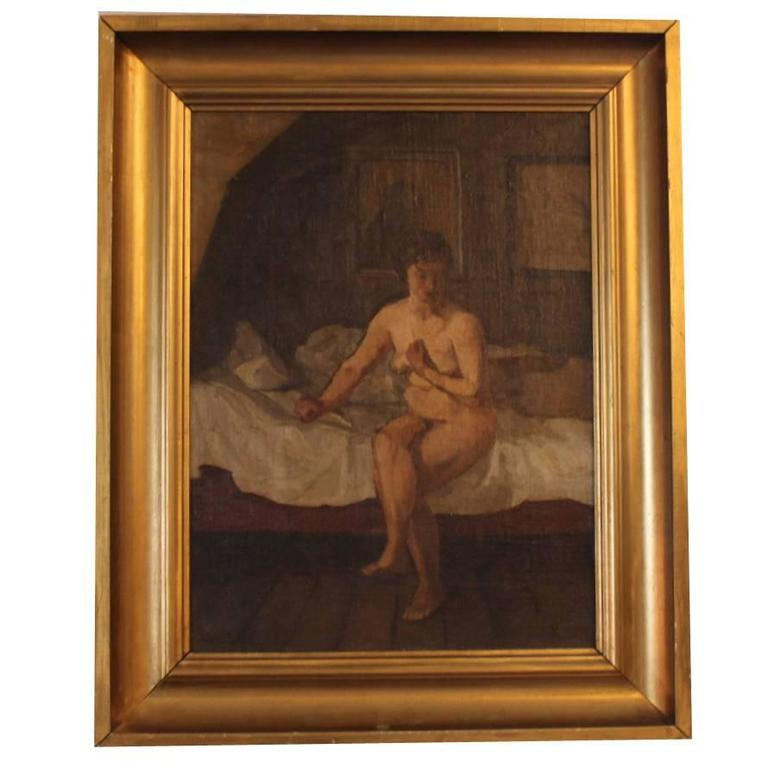 Oil Painting of a Naked Lady Sitting on a Bed Signed G. L., 1924