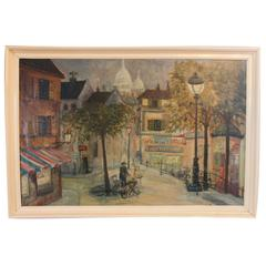 Oil Painting of the Streets of Paris, Signed J. Warius, 1930s