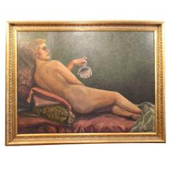Large Painting with Motif of a Naked Woman, Signed O Rosmund, 1910