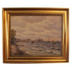 Painting by Marine Painter Johan Neumann, circa 1910