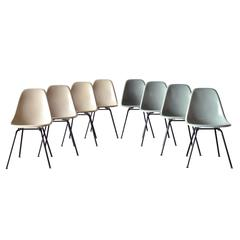 Set of Eight Eames DSX Herman Miller Dining Chairs Sea Foam Green and Greige