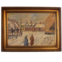"""Oil Painting Titled """"Christmas 1956"""" Signed by Poul Vilhelm Larsen"""