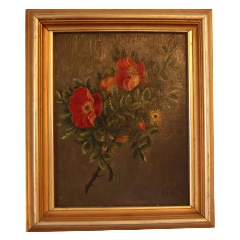 Small Oil Painting with Beautiful Floral Motif, 1890