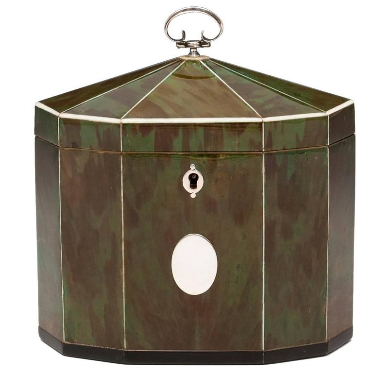 Green Tortoiseshell Tea Caddy
