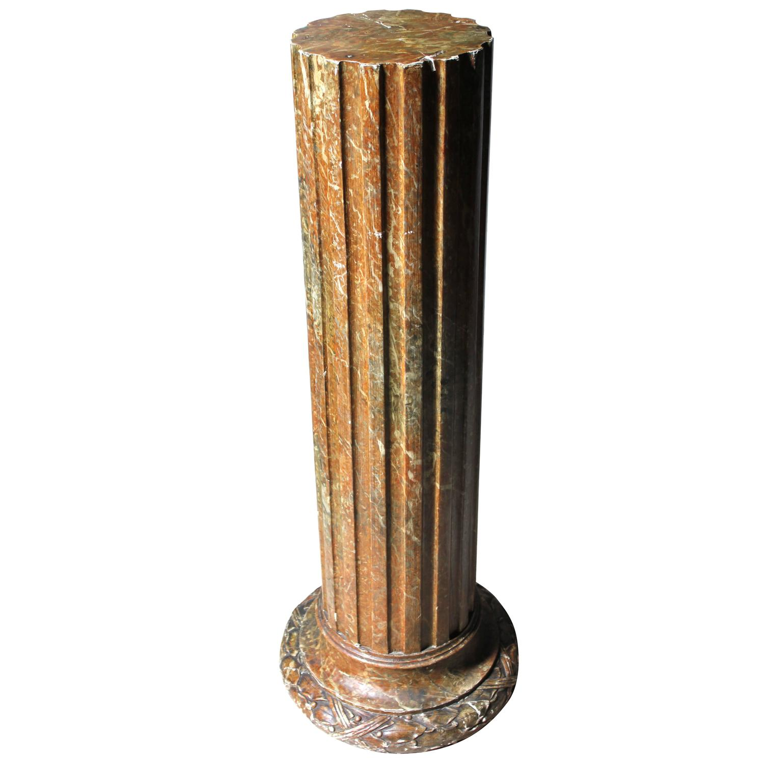 Decorative faux sienna marble plaster column circa 1890 for Decorative columns
