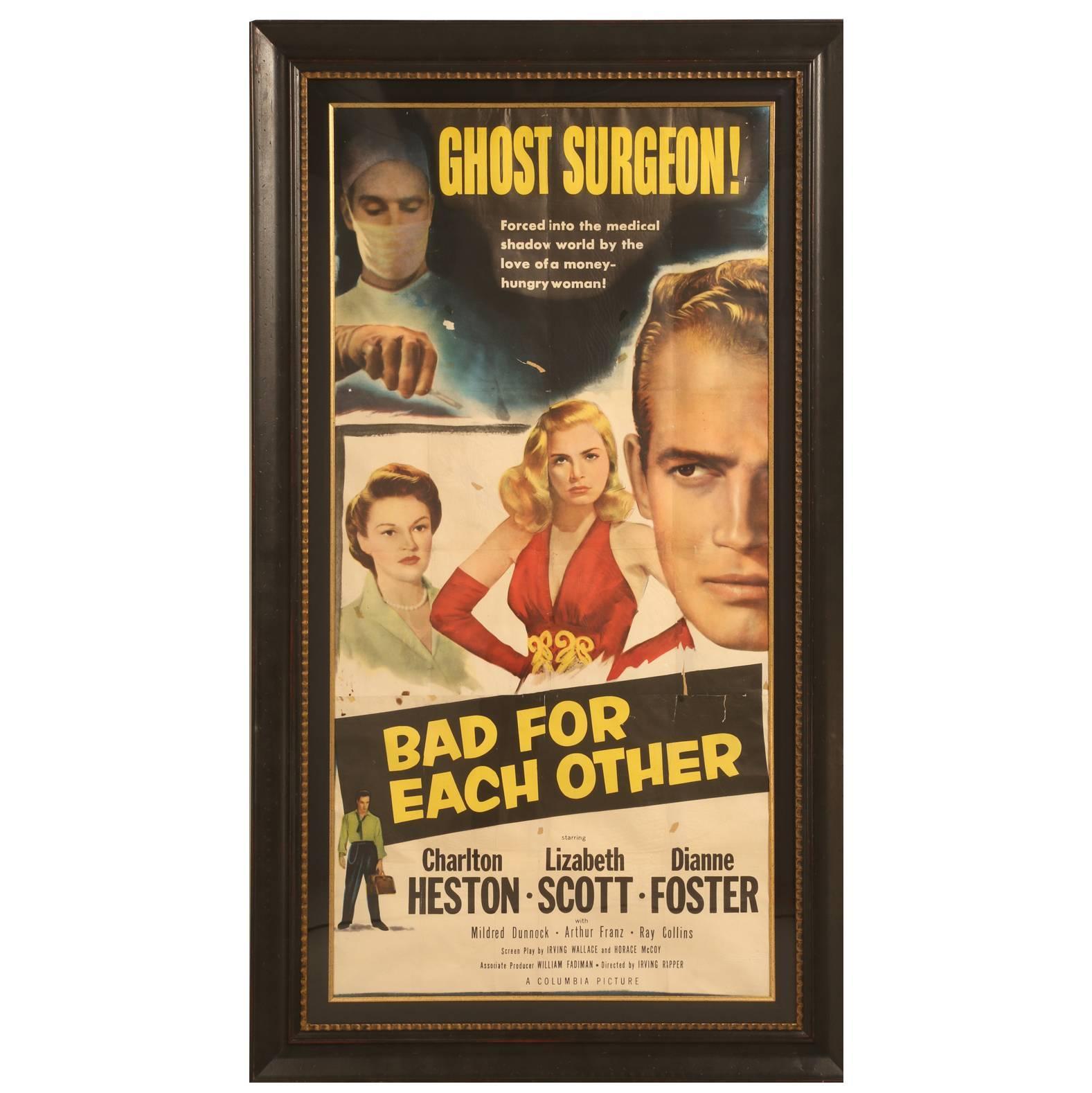 Movie Poster with Charlton Heston, circa 1953