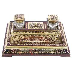 Antique French Boulle Cut Brass Tortoiseshell Inlaid Inkstand, circa 1840