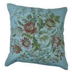 Blue Overdyed Needlepoint Pillow