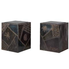 Paul Evans, Pair of Welded Polychcromed Steel End Tables, USA, 1969