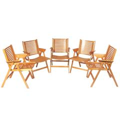 Set of Five Rex Folding Chairs by Niko Kralj