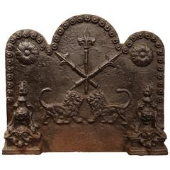 18th Century French Wrought Iron Fireback with Lions, Spears and Fleur-de-Lys