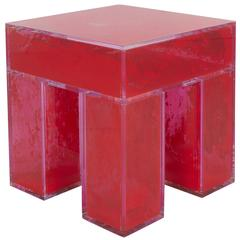 Acrylic Coffee Table with Red Pigment Interior