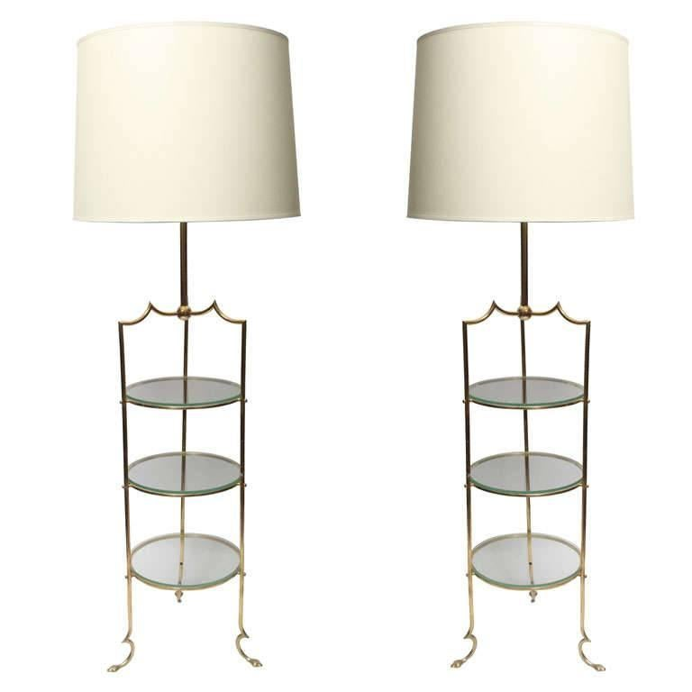 Floor Lamps brass and glass shelves France 1940's For Sale