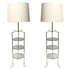 Pair of French Art Moderne Brass and Glass Floor Lamps