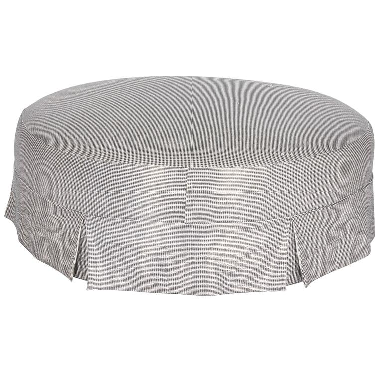 Round Ottoman With Metallic Slip Cover For Sale At 1stdibs