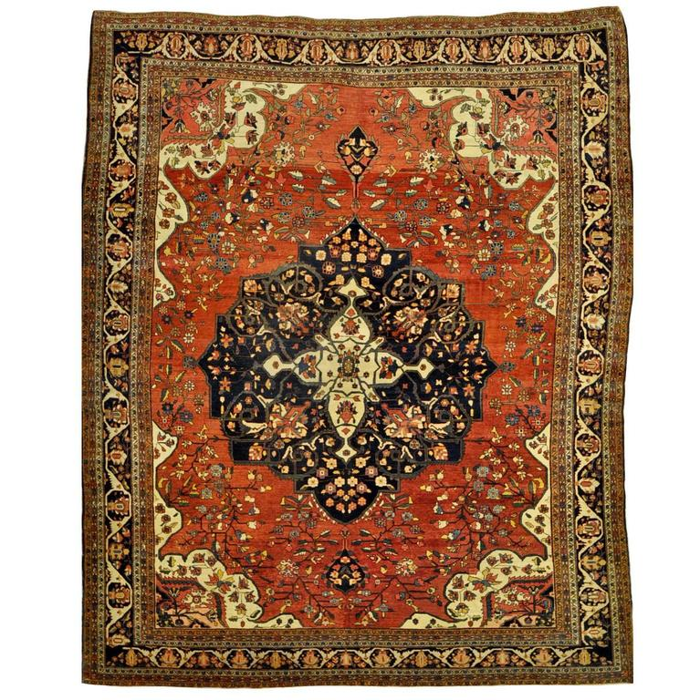 Persian Rugs For Sale: Antique Room Size Persian Sarouk Farahan Rug For Sale At