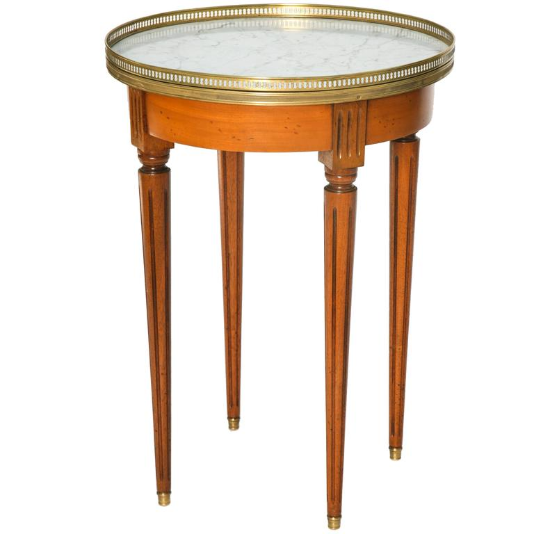 Fruitwood Bouillotte Table with Carrara Marble Top For Sale