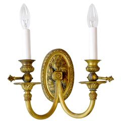 Fabulous Coverted Gas to Electric Cast Brass Sconces with Beautiful Details