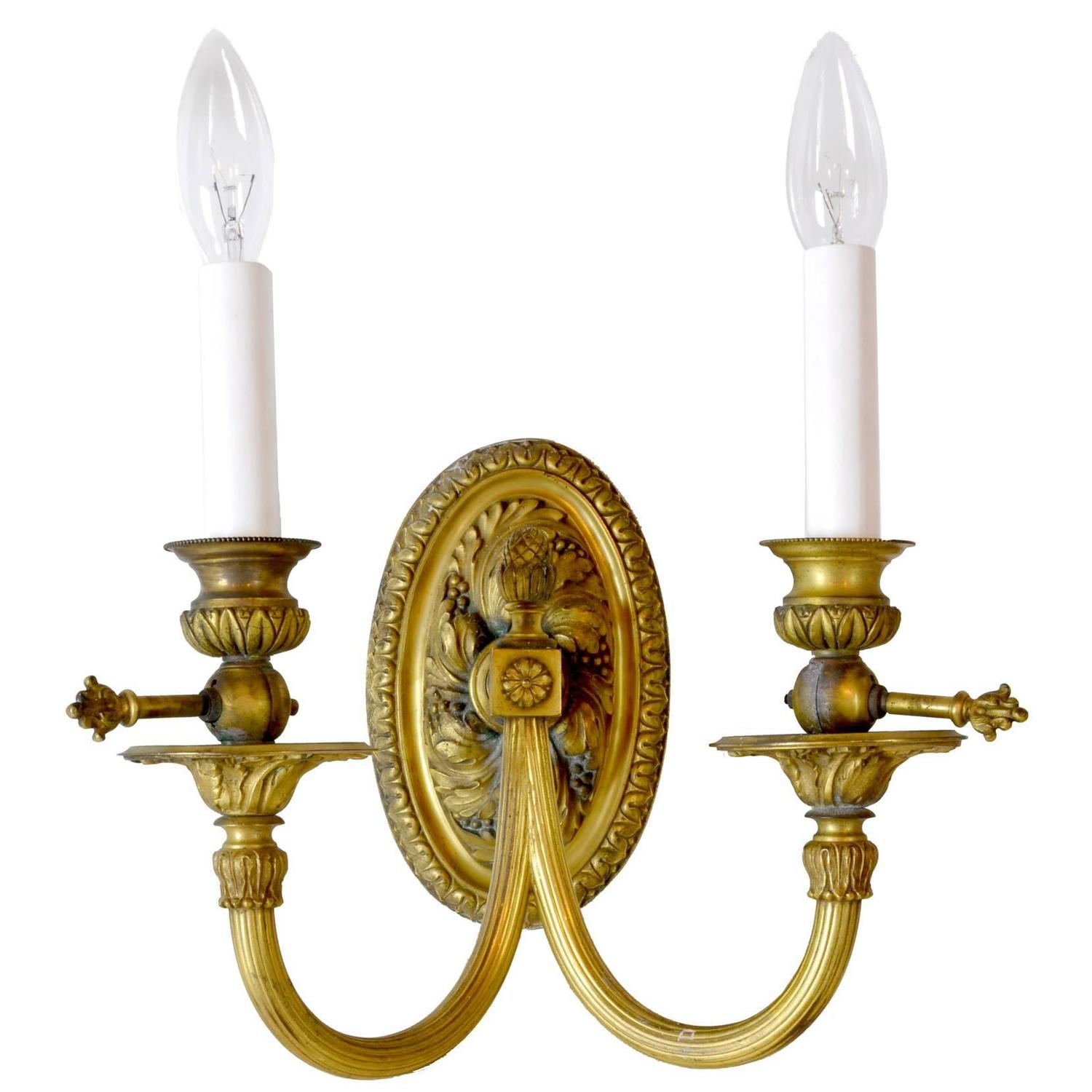 Brass Wall Sconces Electric : Fabulous Coverted Gas to Electric Cast Brass Sconces with Beautiful Details For Sale at 1stdibs