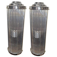 Set of Eight Nickel-Plated and Glass Rods Sconces. sold in pairs