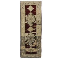 Vintage Turkish Oushak Carpet Runner with Modern Style, Hallway Runner
