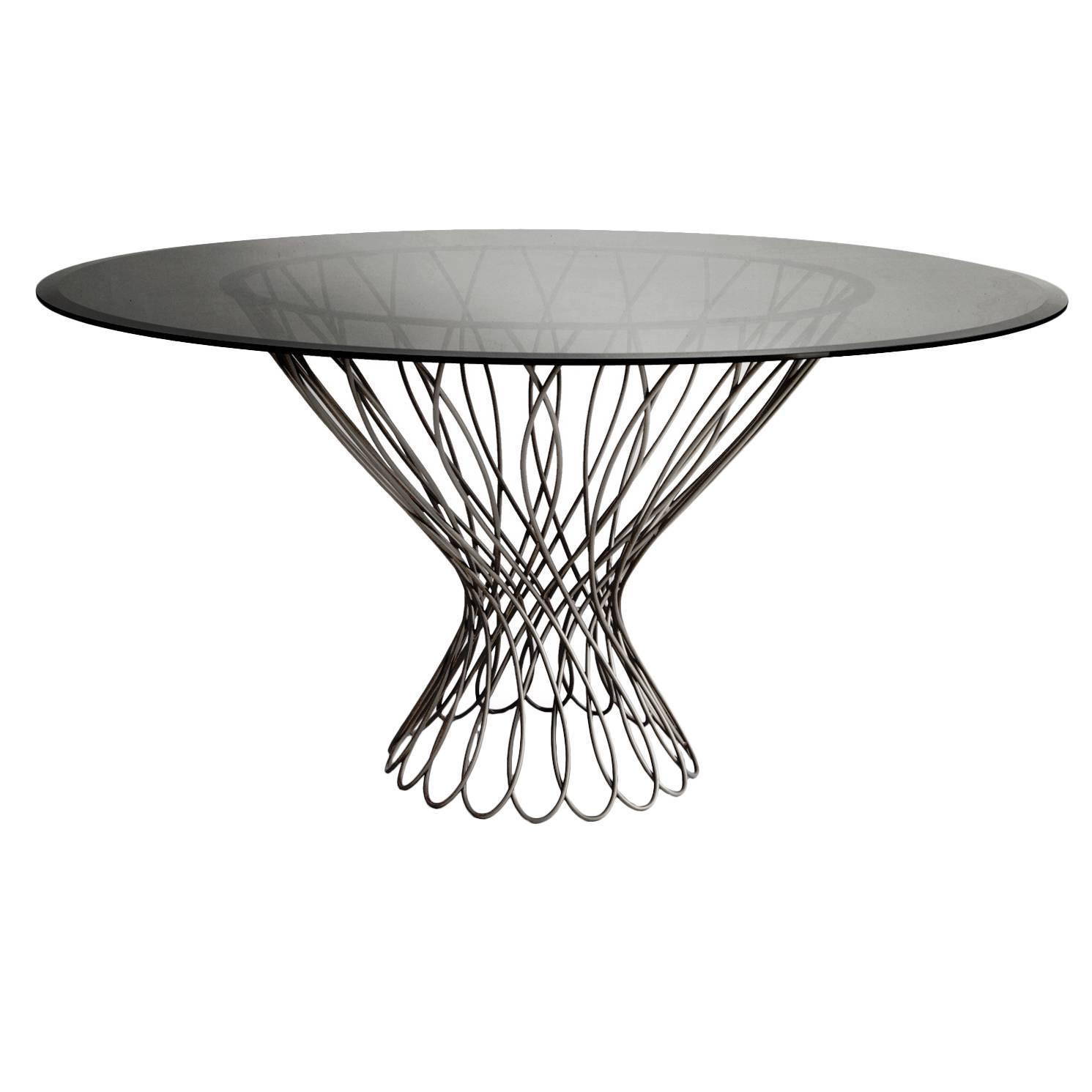 European modern woven iron and bronze glass allure round - Tables rondes en verre ...