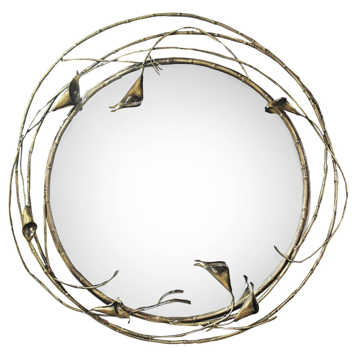 Large floral european modern stella antique brass round for Large round mirrors for sale