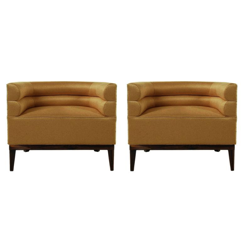 Pair of European Modern Maa Twill and Gold and Wood Armchair by Brabbu 1
