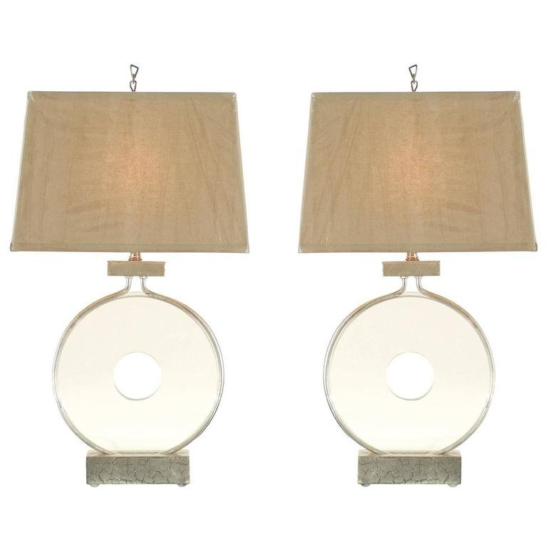 Restored Pair of Stylish Vintage Lucite Disk Lamps