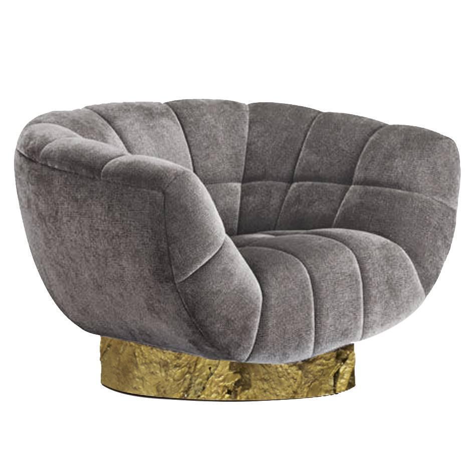 European Modern Cotton Velvet And Brass Essex Armchair