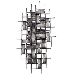 American Iron Wall Sculpture in the Style of Harry Bertoia, circa 1950
