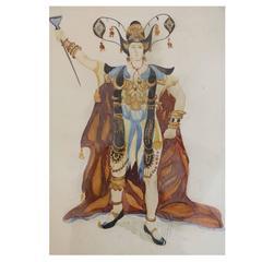 Exceptional Original Theater Costume Design by Léon Bakst, 1905-1910