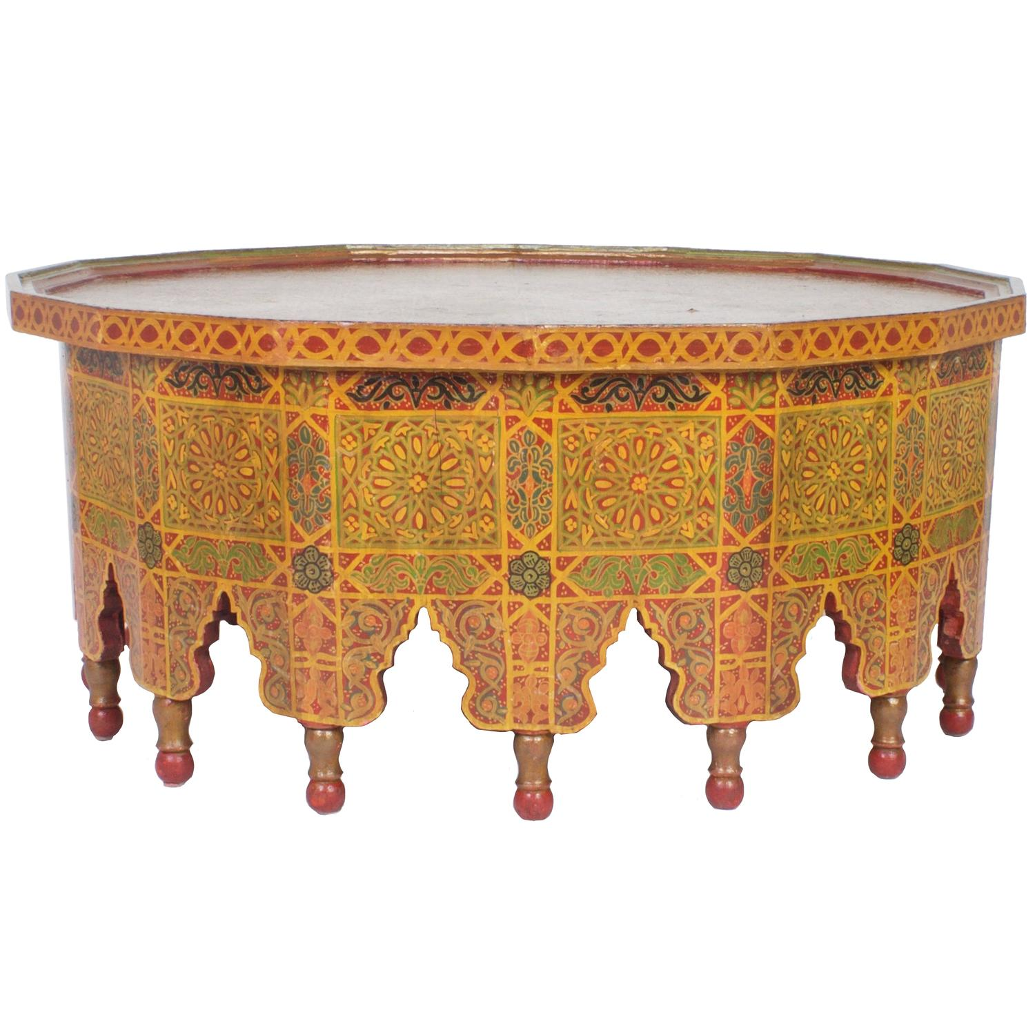 Vintage large hand decorated moroccan cocktail or coffee Moroccan coffee tables