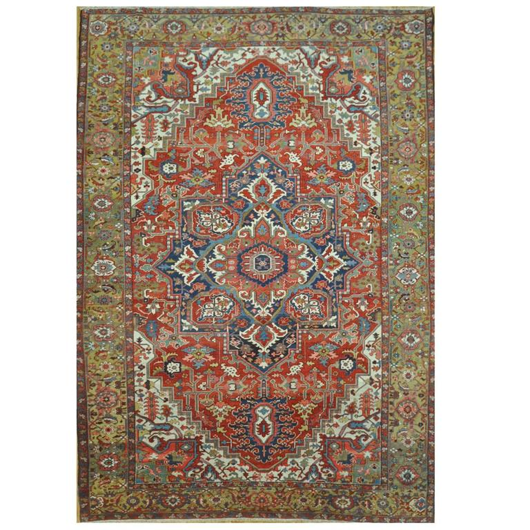 Antique Hand-Knotted Persian Heriz Rug