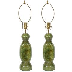 Pair of French 1940s Mottled Green Ceramic Lamps