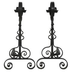 French 1930s Wrought Iron Andirons