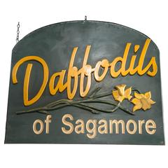 Carved Wood Advertising Sign-Daffodils