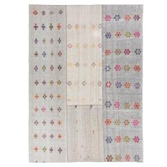 Cotton and Goat Hair Kilim with Colorful Flowers