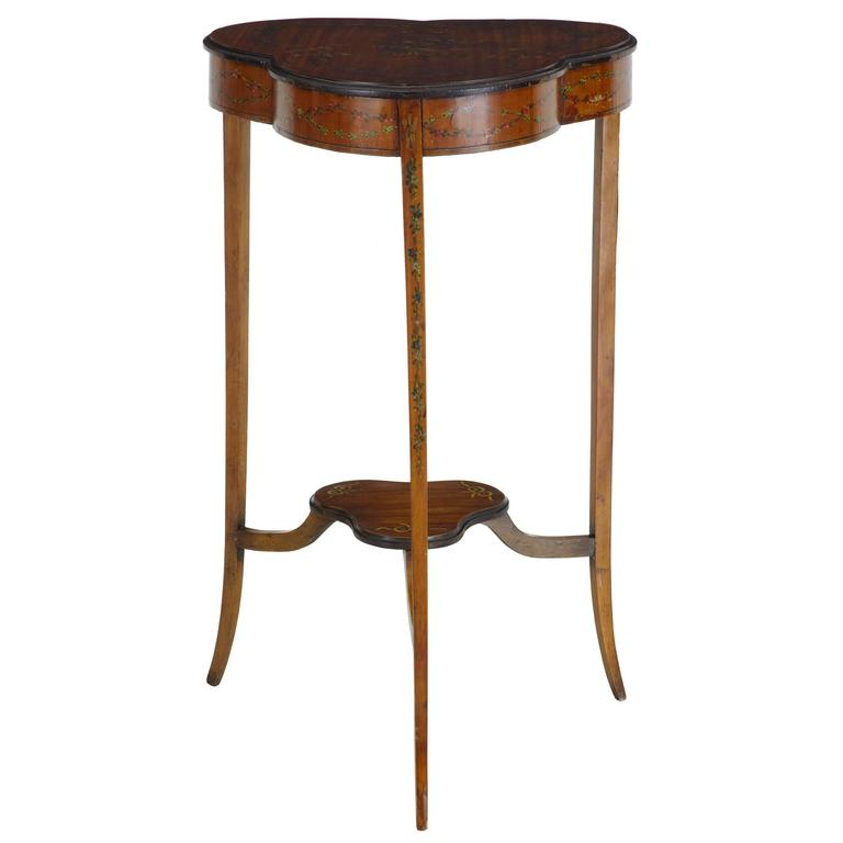 Early 20th Century Satinwood Occasional Table with Painted Decoration For Sale