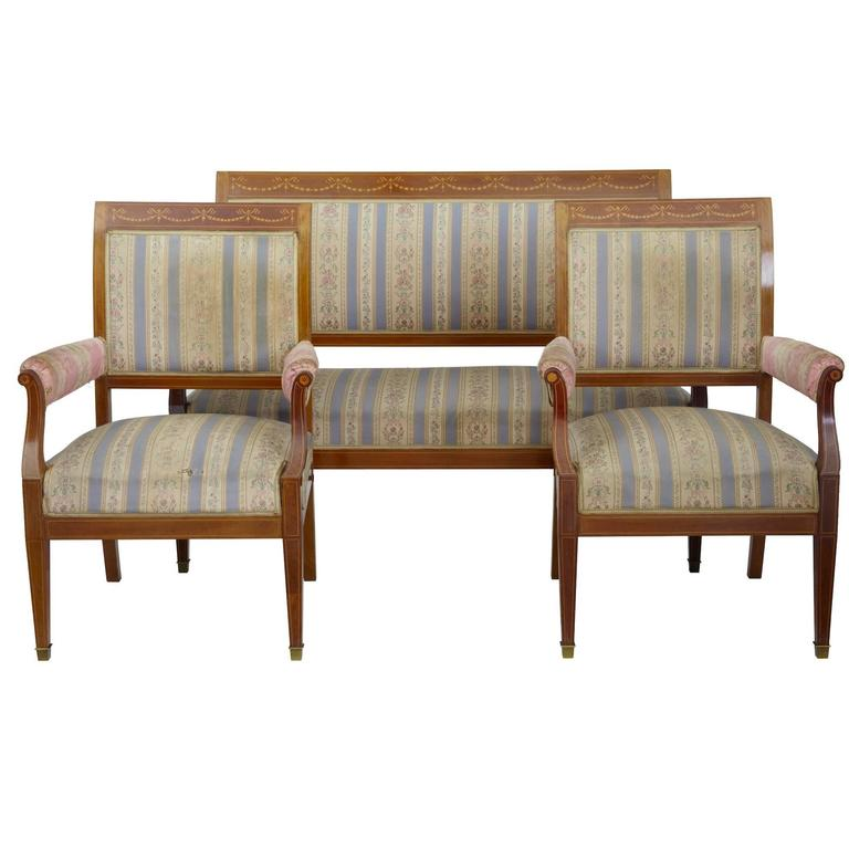 Early 20th Century Inlaid Mahogany Three-Piece Salon Suite For Sale