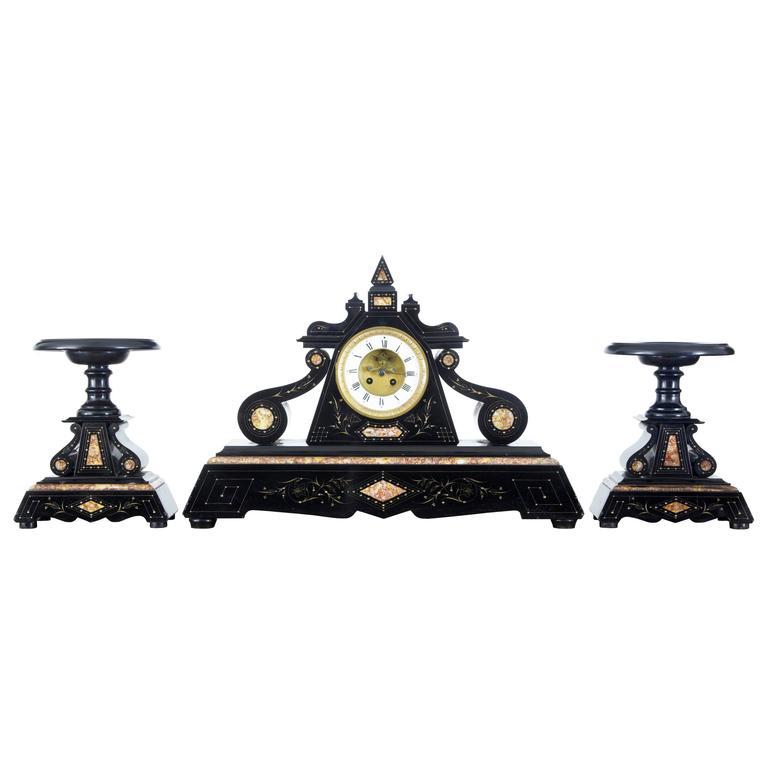 Viktorianische Garnitur aus Marmor 19. Jahrhundert 1
