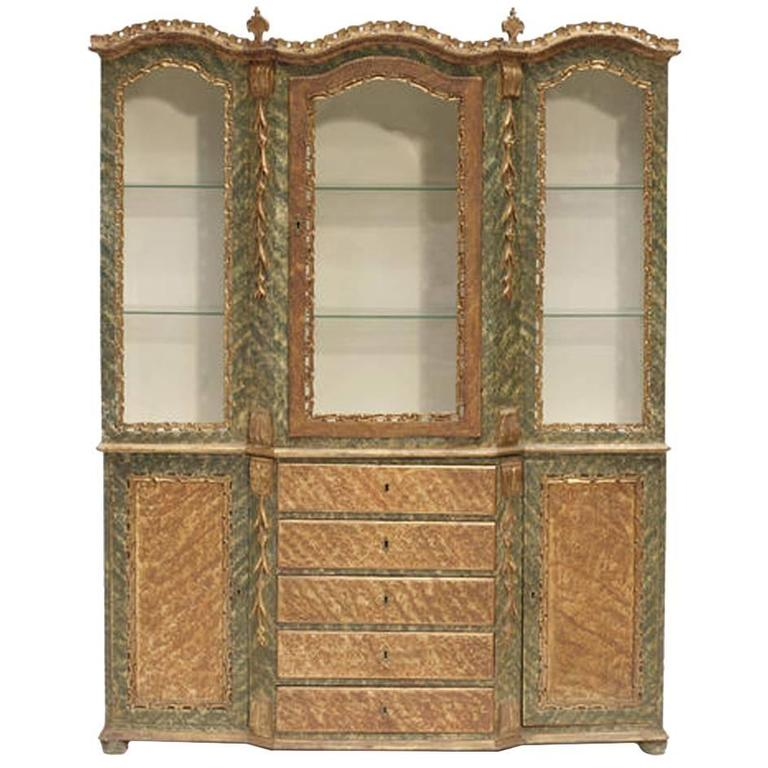 Venetian Baroque Style Breakfront Display Cabinet, 19th Century