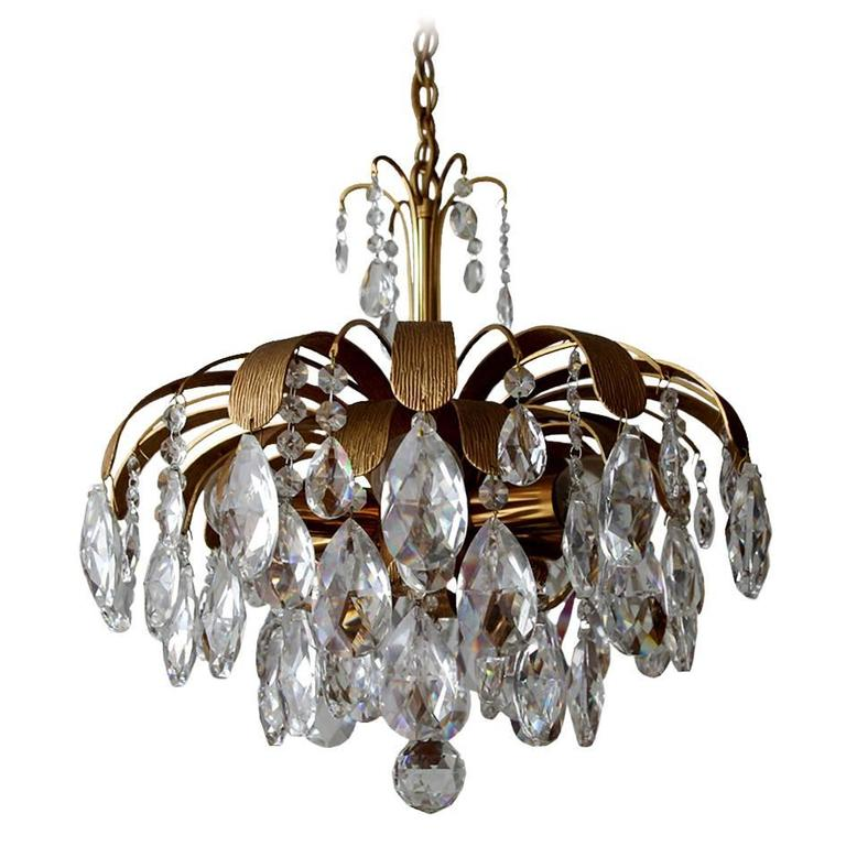 Very rare and beautiful gold plated chandelier by palwa 1960s for very rare and beautiful gold plated chandelier by palwa 1960s for sale aloadofball Image collections