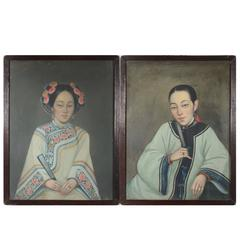 Chinese Export Portraits of Two Ladies