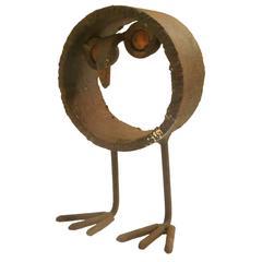 1970s Decorative Brutalist Raw Iron Welded Owl Sculpture